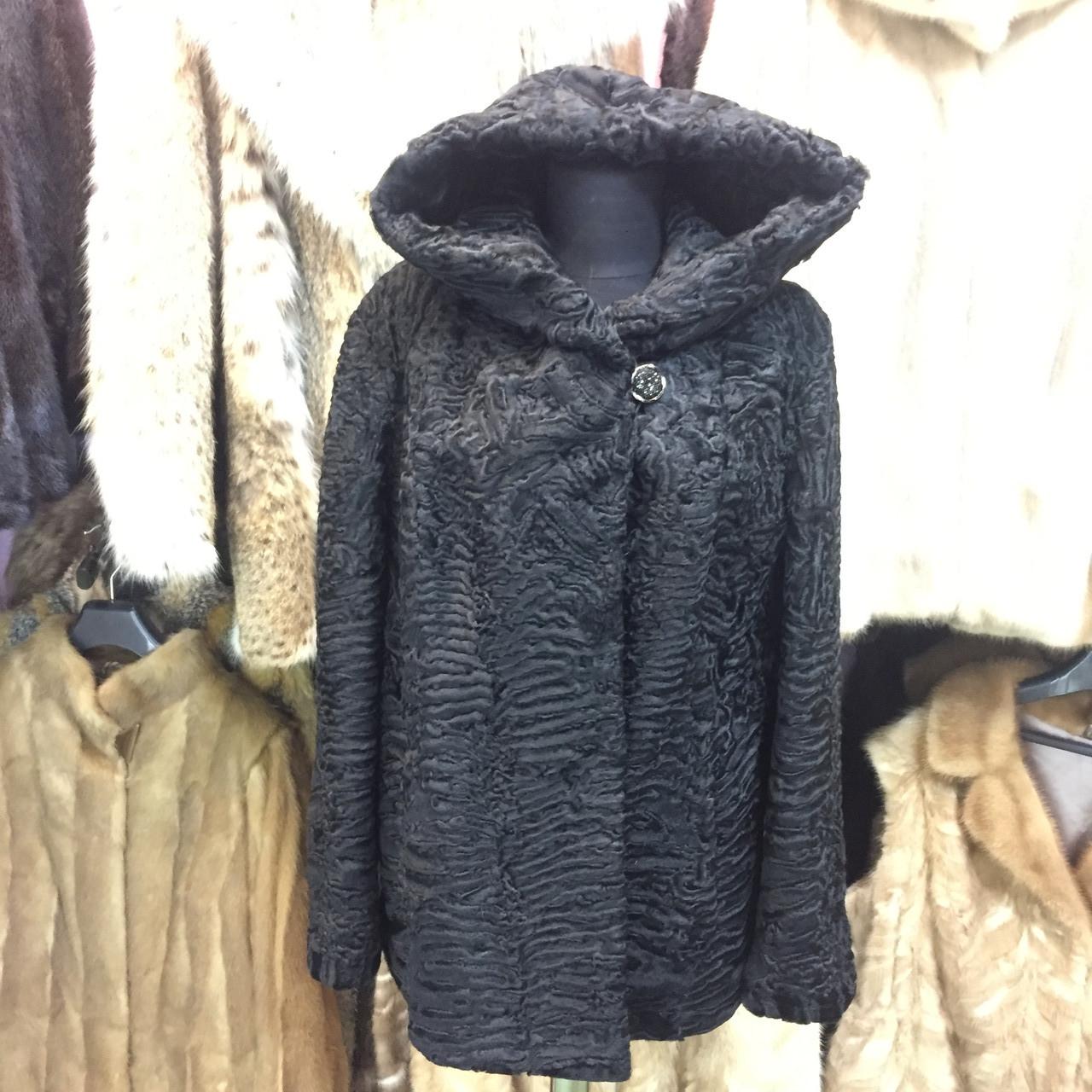 Каракульча черная свакара шуба полушубок с капюшоном каракульча натур. размер 48 50 натуральный мех