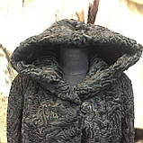 Каракульча черная свакара шуба полушубок с капюшоном каракульча натур. размер 48 50 натуральный мех, фото 2