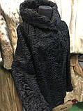 Каракульча черная свакара шуба полушубок с капюшоном каракульча натур. размер 48 50 натуральный мех, фото 3