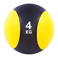 Мяч медицинский (медбол) твёрдый 4кг D=22 см, черно-желтый