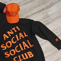 Толстовка чёрная Paranoid Anti Social Social Club | Худи ASSC | Кенгуру АССЦ, фото 3