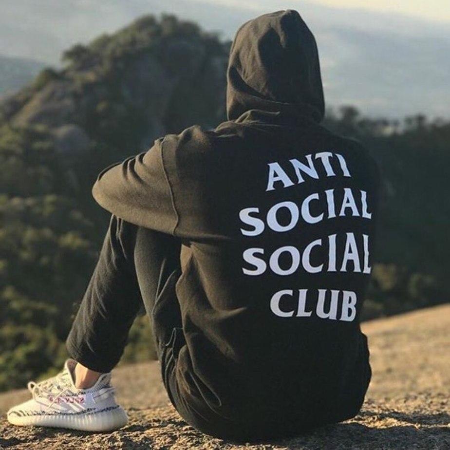 Толстовка чёрная Anti Social Social Club CLASSIC | Худи ASSC | Кенгуру АССЦ
