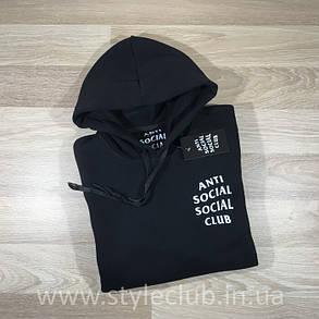 Толстовка чёрная Anti Social Social Club CLASSIC | Худи ASSC | Кенгуру АССЦ, фото 2