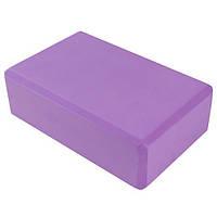 Йога блок фиолетовый, 23х15х7.5см, вес 175гр