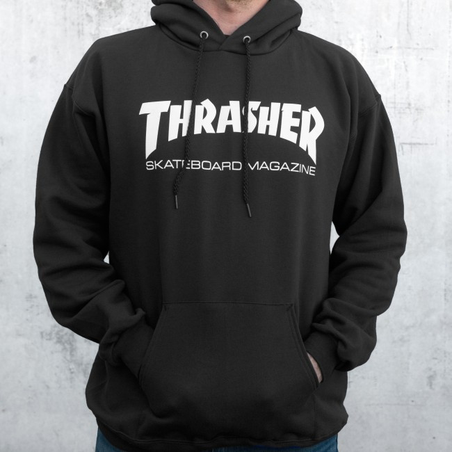 Толстовка чёрная Thrasher skateboards | худи Трешер | кенгуру трашер