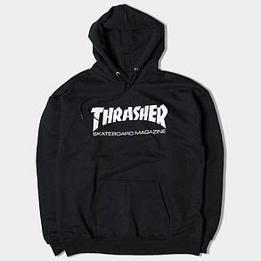 Толстовка чёрная Thrasher skateboards | худи Трешер | кенгуру трашер, фото 2