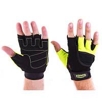 Перчатки атлетические черно-зеленые Ronex RX-05, размер M