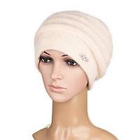 Модная женская вязаная шапка Darina ангора бежевого цвета, фото 1