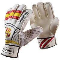 Вратарские перчатки Latex Foam FC BARCS, бело-желтые, р.8