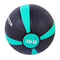 Мяч медицинский (медбол) твёрдый 3кг D=21см, IronMaster черно-красный
