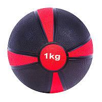 Мяч медицинский (медбол) твёрдый 1кг D=19 см, черно-красный