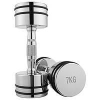 Гантель хромированная, 7 кг, 1 шт, резиновое кольцо