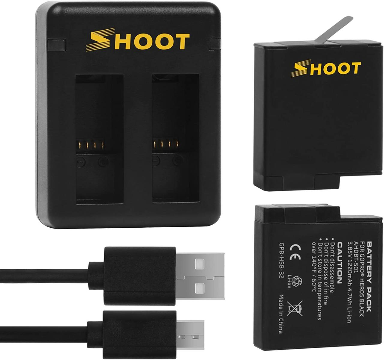 Набор SHOOT: Зарядное устройство на два места + два аккумулятора для GoPro HERO5/6/7 Black, Hero 2018