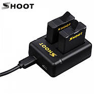 Набор SHOOT: Зарядное устройство на два места + два аккумулятора для GoPro HERO5/6/7 Black, Hero 2018, фото 3