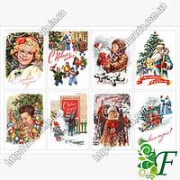 Бирка-открытка 7х5см 8 шт(лист) НГ открытки СССР с детками
