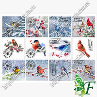 Бирка-открытка 4.5х5см 12 шт(лист) НГ Зимние птички