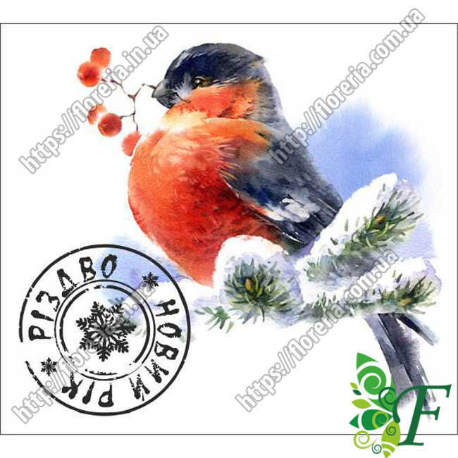 Бирка открытка 5х4,5см НГ Снегирь за 100 шт