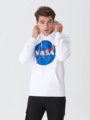 Толстовка белая NASA Logo CL   худи насса   кенгуру наса, фото 2