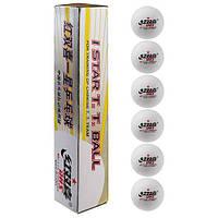 Шарики для настольного тенниса DHS 1*, белые, 6 шт