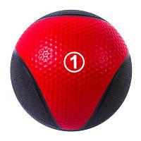 Мяч медицинский (медбол) твёрдый 1кг D=22 см, IronMaster черно-красный