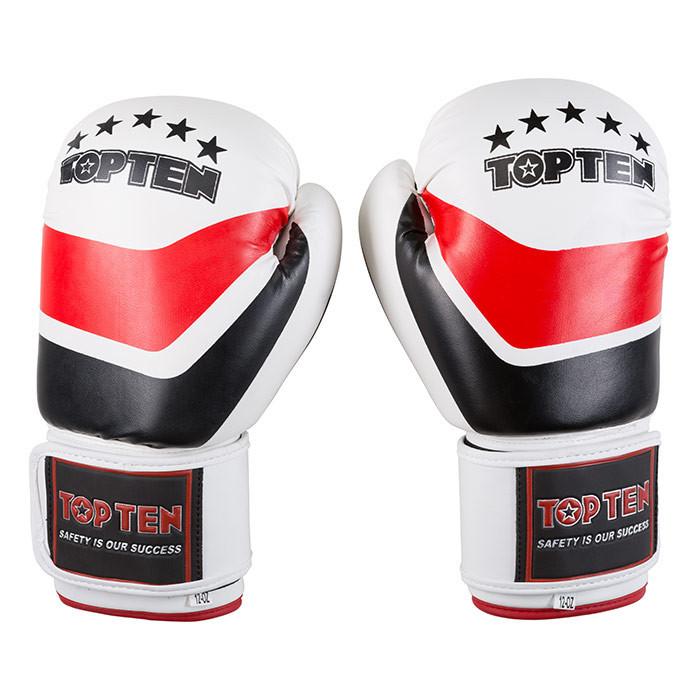 Боксерские перчатки бело-красные 10oz TopTen DX-31