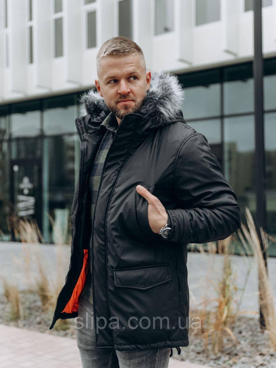 Чоловіча зимова куртка з водовідштовхувальним плащової тканини на флісі