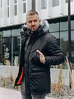 Чоловіча зимова куртка з водовідштовхувальним плащової тканини на флісі, фото 1