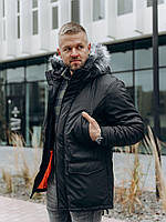Мужская зимняя куртка из водоотталкивающей плащёвки на флисе, фото 1