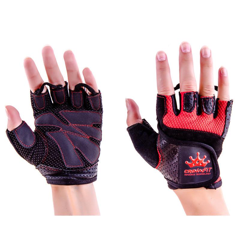 Перчатки атлетические черно-красные CrownFit RX-04, размер S