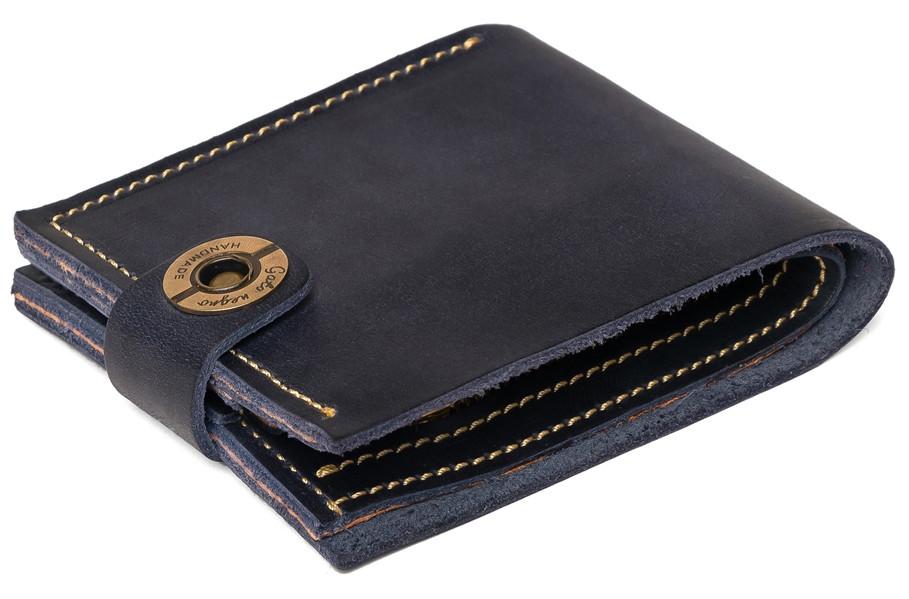 844aa8603297 Кожаный кошелек ручной работы Gato Negro Classic мужской, синий (мужские  кошельки из натуральной кожи