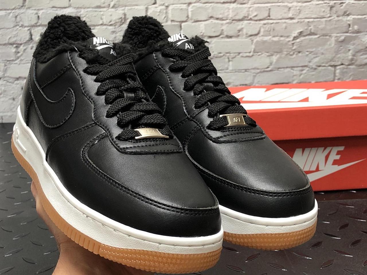 Зимние мужские кроссовки Nike Air Force black с мехом. ТОП Реплика ААА класса.