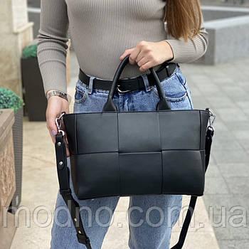 Жіноча шкіряна містка плетена сумка на і через плече Polina & Eiterou
