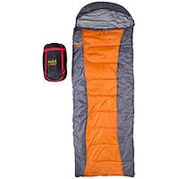 Спальник, спальный мешок для туриизма 450гр/м2 GreenCamp одеяло180+30/75; 1,8кг серо-оранжевый