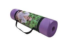 Коврик для йоги и фитнеса фиолетовый NBR, 1800х600х10мм