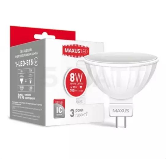 Лід лампа Maxus led Mr16 8w 3000k 220v GU5.3,1-led-515 (KG-375)