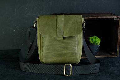 Шкіряна чоловіча сумка Вільям, натуральна Вінтажна шкіра колір Оливковий