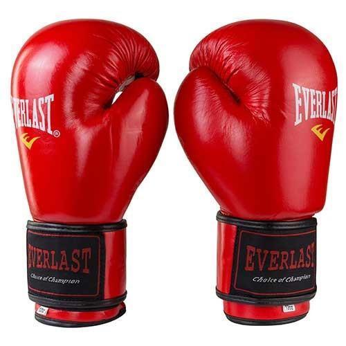 Боксерские перчатки кожаные красные 8oz Everlast 3Strap