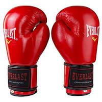 Боксерские перчатки кожаные красные 8oz Everlast 3Strap, фото 1