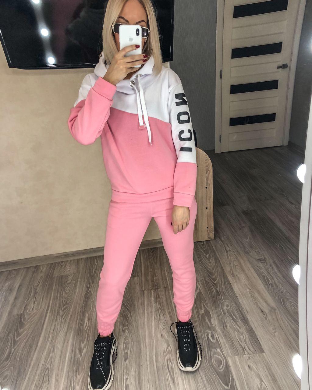 Женский зимний теплый на флисе  спортивный костюм розово-белого цвета
