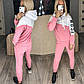 Женский зимний теплый на флисе  спортивный костюм розово-белого цвета, фото 4