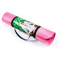 Коврик для йоги и фитнеса розовый NBR, 1800х800х10мм