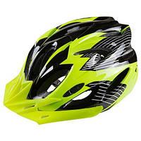 Велошлем защитный, регулировка размера, лимонный/черный