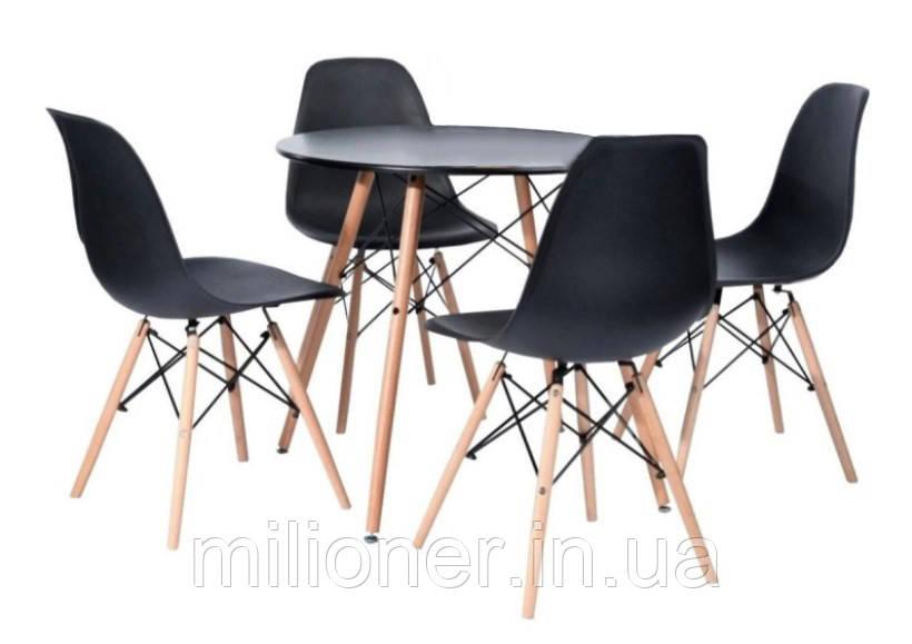 Столик Bonro В-957-600 + 4 черных кресла B-173