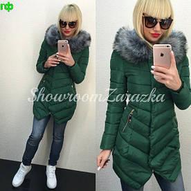 Зимняя стеганная куртка с мехом (разные цвета)