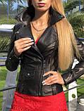 Женская кожаная куртка Fabio Monti, с кармашком, 42 ( 42, 44, 46, 48 ) черный, кожа 001, фото 2
