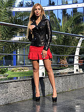 Женская кожаная куртка Fabio Monti, с кармашком, 42 ( 42, 44, 46, 48 ) черный, кожа 001