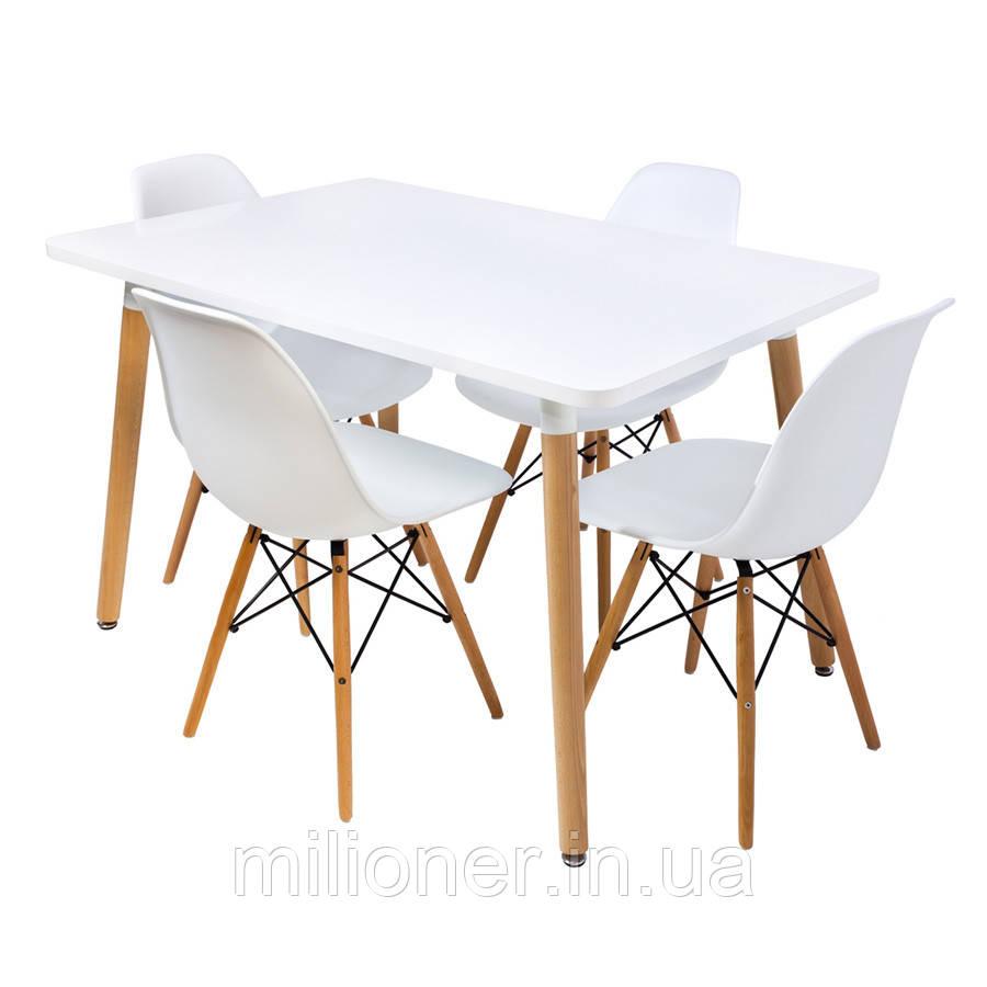 Столик Bonro В-950-1200 + 4 белых кресла В-173