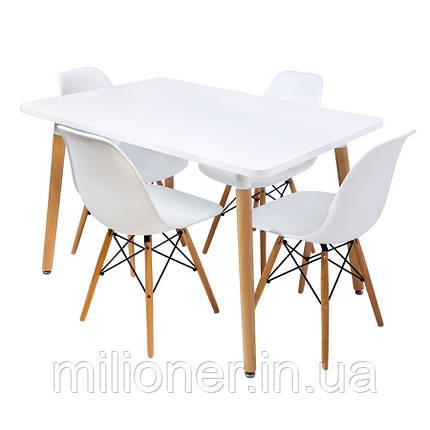 Столик Bonro В-950-1200 + 4 белых кресла В-173, фото 2