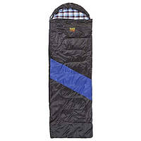 Спальник GreenCamp, одеяло, 450гр/м2, черно/голубой