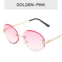 Очки для имиджа круглые овальные безободковые Popular  розовые пудровые